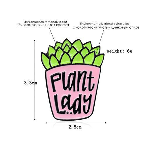 WYLBQM Broche Cartoon Topfpflanze Brosche Kaktus Grünpflanze Fleischige Pflanze Lady Emaille Coat Badge Kinder und Freunde Gärtner Workert