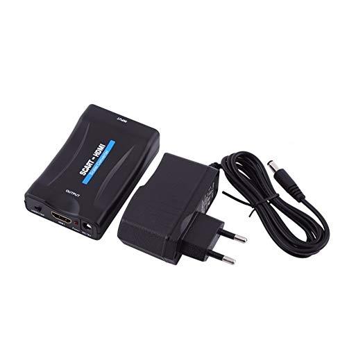 CVBN SCART a HDMI Video Converter 1080P Video Audio Convertidor de Gama Alta Señal AV, Negro