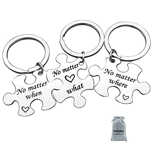 Best Friend Keychain Set No Matter Where What When Puzzle Keychain Set of 3 Long Distance...