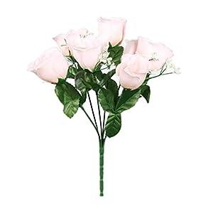 SN Decor 84 Silk Rose Buds Artificial Flowers for Wedding DIY Centerpiece Floral Arrangement (10″x4″) Fake Roses New Blush Silk Flower with Gypsophila – New