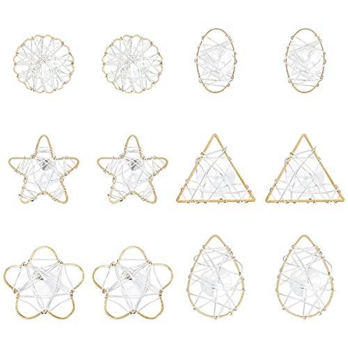 AHANDMAKER Colgantes de latón circón anillo de cobre y alambre de hierro enrollado 36 piezas transparentes colgantes colgantes collar jardín boda araña decoración platino y oro