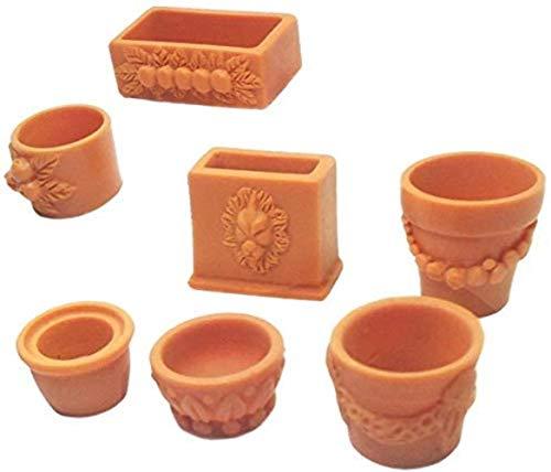 WXH SLL- Mini 7 Stück Kunststoff Verschiedener Blumentopf for 01.12 Maßstab Miniatur-Puppenhaus Gartenmöbel Dekor-Kits