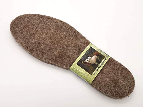 ALPAKASHOP-BAYERN   Schuheinlegesohlen Bequeme Isolierende Alpakasohle Extra warm, weich, atmungsaktiv verschiedene Größen   Alpaka Filz Thermoschuheinlagen