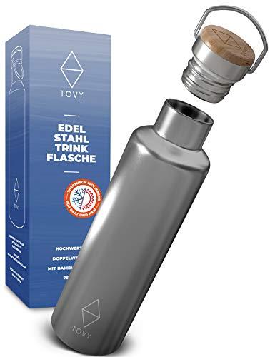 TOVY Edelstahl Trinkflasche isoliert mit Bambusdeckel, Thermo Trinkflasche spülmaschinenfest u. Kohlensäure geeignet, Trinkflasche Edelstahl 750ml [GRATIS DICHTRING]