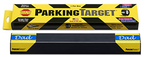 IPI-100: Parking Target - Parking Aid Protects Car and Garage Walls - Easy to Install – Peel and Stick - Only 1 Needed per Vehicle – Mom and Dad and USA Decals Included – Parking Gadget Great Gift