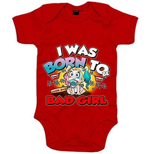 Body bebé I was born to be bad girl parodia Baby Harley Quinn - Rojo, 12-18 meses