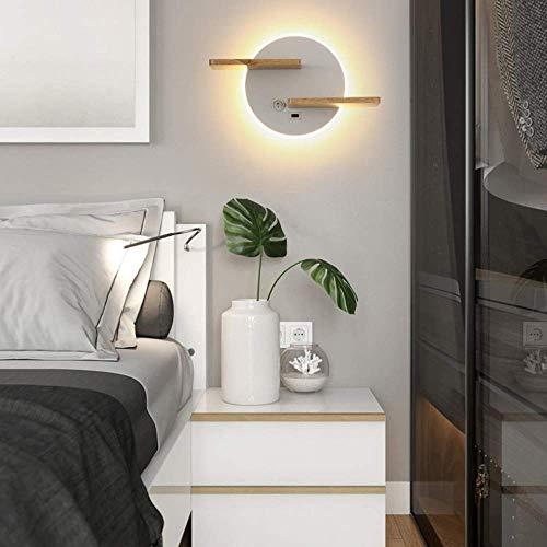 Lámpara de pared LED para interiores con interruptor, lámpara de pared con puerto de carga USB, lámpara de noche para dormitorio con estante de madera, lámpara de pared de fondo para sala de estar, c