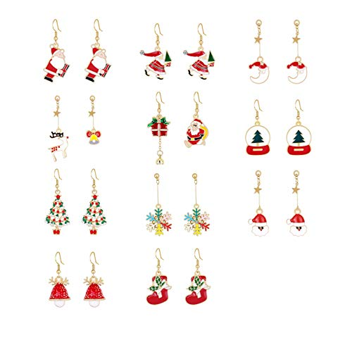 11 Pairs Christmas Dangle Earrings Lightweight Cute Party Earrings Holiday Jewelry Set gifts for Womens Girls,Thanksgiving Xmas Jewelry Drop Earrings Set