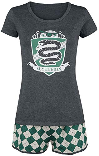HARRY POTTER Slytherin Quidditch Mujer Pijama Verde-Gris L