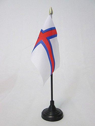 AZ FLAG TISCHFLAGGE FÄRÖER-Inseln 15x10cm goldene splitze - FÄRÖER TISCHFAHNE 10 x 15 cm - flaggen
