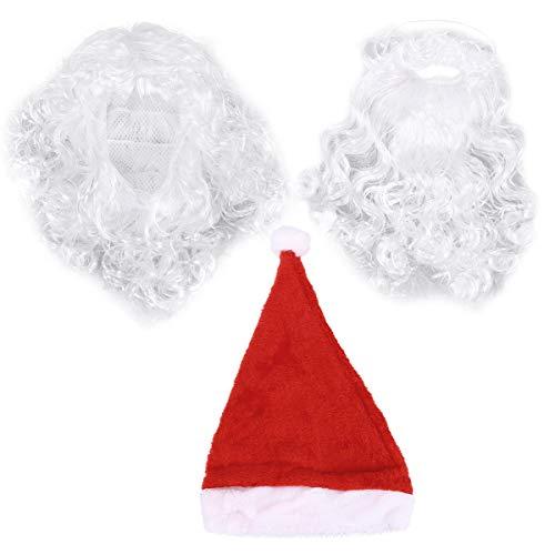 BESTOYARD 3 stks Kerstman Hoed met Baard en Pruik Kerstfeest Kostuum Set Outfit Accessoires (Korte Baard)