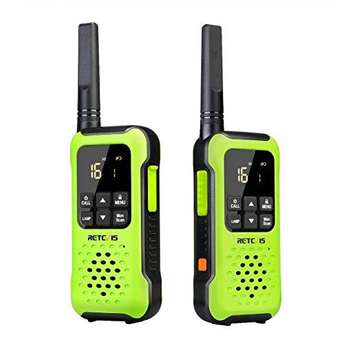 Retevis RT649P Walkie Talkie, Flotador Impermeable IP67, PMR 446 16 Canales Licencia Libre, Linterna LED, CTCSS/DCS VOX, Walkie Talkie Impermeable para Exteriores (1 Par, Verde)