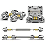 PHOEROS Adjustable Dumbbell Set - 44 LBS weights set , Dumbbell Barbell 3 in 1 , Steel Dumbbells Pair with Connecting Rod for Adults Women Men Fitness Workout, Home Gym Exercise Training Equipment