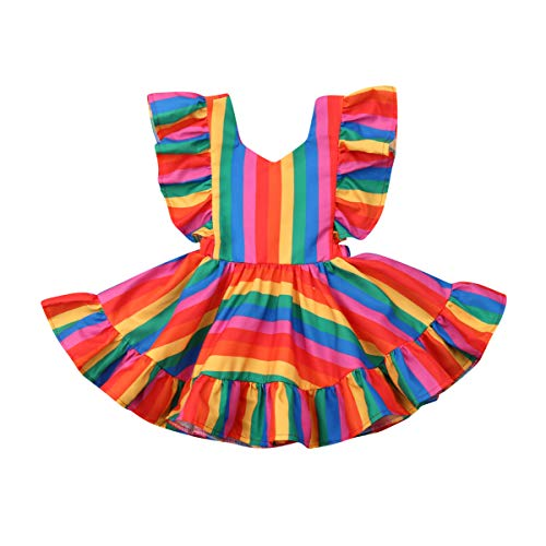 Toddler Infant Baby Girls Rainbow Dress Ruffle Backless Casual Summer Sundress (3-4T, Rainbow)