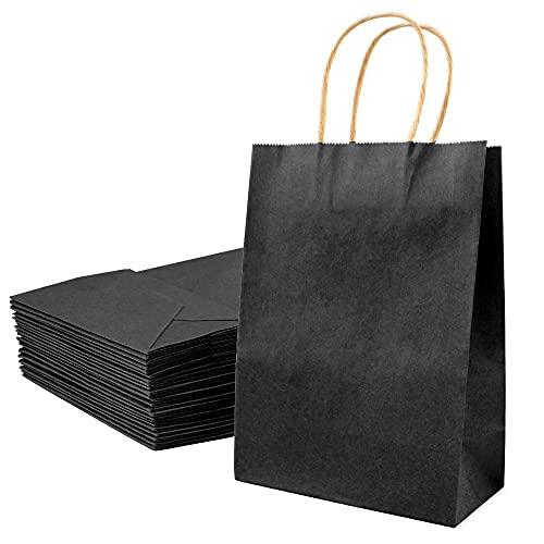 Auckpure Papiertüten Braun, 25x Papiertüten mit Henkel, Kraftpapier Tüten ist Geeignet für Geschenktüten, Geburtstage, Brottüten Adventskalender Tüten, Braune Tüten Papier
