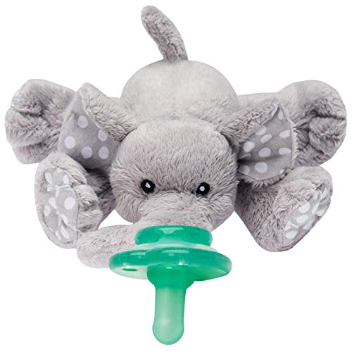 Nookums Paci-Plushies Buddies Adapts to Name Brand Pacifiers, Suitable for All Ages, Plush Toy Includes Detachable Pacifier (Ella The Elephant)