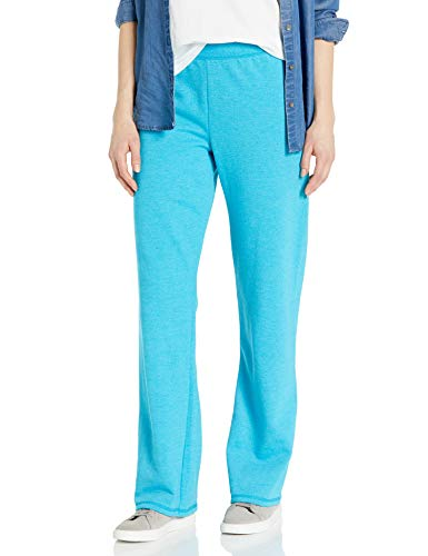 Hanes Women's Fleece Slim Fitting Pant Petit Open Leg Sweatpants S - 2XL (XXL Petite, Bold Blue Heather)