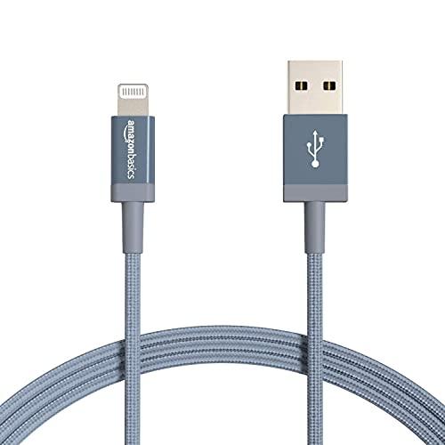 Amazon Basics Cable Lightning a USB-A de nailon trenzado, cargador certificado por MFi, color gris oscuro, 1,82m+ Cable Lightning a USB-A de nailon trenzado