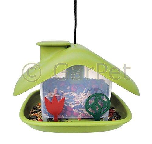 Plastia Vogelhaus Vogelfutterhaus Futterhaus Vogel Futter Spender Stelle Häuschen Domek grün