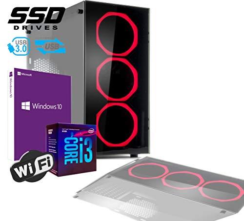 PC DESKTOP GAMING INTEL QUAD CORE I3-8100 UP TO 3,6 GHZ/CASE IN VETRO MYKA CRISTAL RUBIN CON 3 VENTOLE HALO ROSSO/MB HDMI VGA DVI/RAM 8Gb DDR4/SSD 480GB /WIFI 300MB/WINDOWS 10 PRO