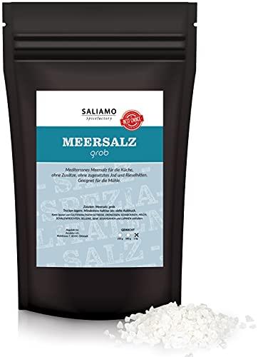 Saliamo mediterranes Meersalz - Kochsalz - grob - perfekt für Pasta oder Pesto - für die Salzmühle - 1000 g Packung - ohne Rieselhilfe