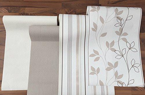 Vlies Tapete Rasch home style creme braun beige streifen floral Putz Struktur (415749 uni braun)