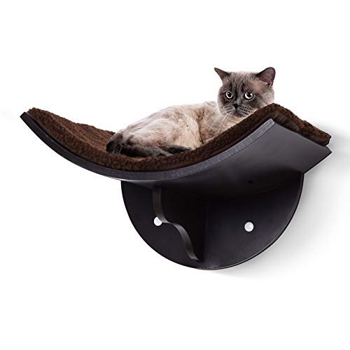PawHut Wood Cat Shelves Wall-Mounted Shelter Curved Kitten Bed Cat Perch Climber Cat Furniture 41 x 28 x 21cm Brown