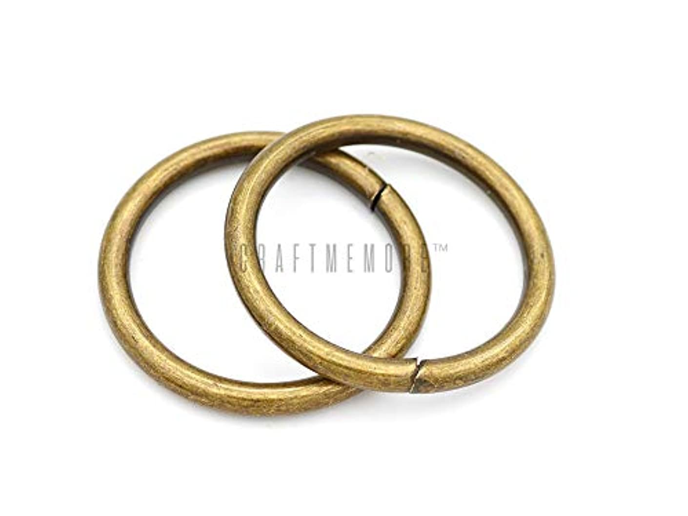 CRAFTMEmore O-Ring Findings Metal Non-Welded O Rings for Belts Bags Landyard DIY Leather Hand Craft (1-1/2