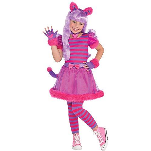 amscan 9901796 Disfraz de gato Cheshire de 6 a 8 aos  1 unidad, rosa