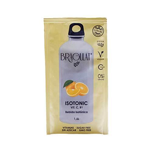 BRAGULAT | Bebidas y Refrescos Isotónicas en Polvo| Zumo Concentrado de Frutas | Sin Azúcar y con Vitamina C y B1 | Agua con Sabor a Naranja | 15 Sobres
