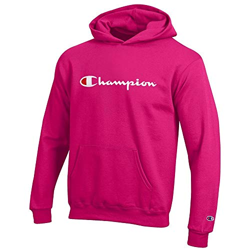 Champion Classic Script Logo Youth (Knockout Pink) Powerblend Pullover Hoodie