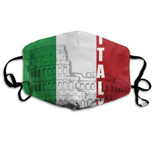 Multifunktionale Gesichtsschutzhülle,Italien Italienische Flagge Römisches Kolosseum Unisex Waschbare Wiederverwendbare Gesichtsdekorationen Für Den Persönlichen Schutz