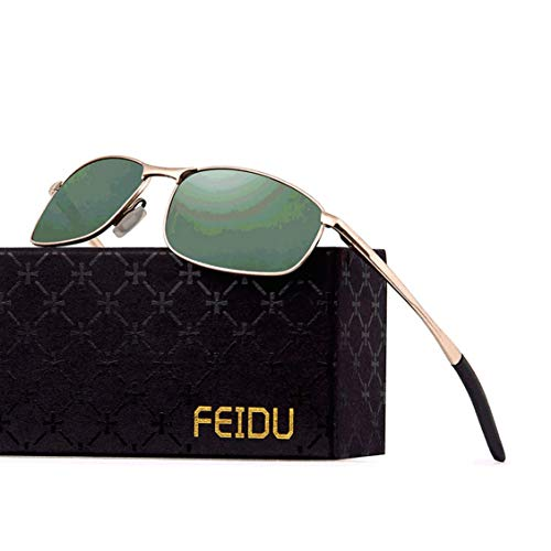 FEIDU Sportbrille Sonnenbrille Herren Polarisierte,HD Lens Metal Frame Driving Shades FD 9005 (Grün Gold, 57)