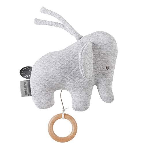 Nattou Mini-Spieluhr Elefant, Gesteppt, Tembo, 21 x 18 x 8cm, Grau, 929387