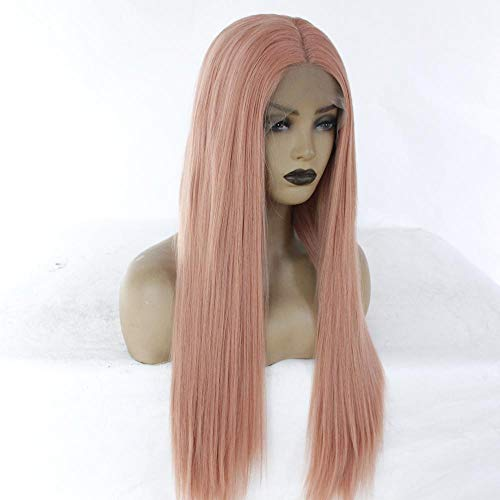 WJGSS Rose longue chevelure droite cheveux longs frange Fashion Full Perruques Cosplay Party Sexy front lace perruques,faite à la main résistant à la chaleur synthétique Perruque,14 pouces