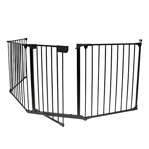 Todeco - Cancello Di Sicurezza, Cancelletto Regolabile Per Camino - Dimensioni piegato: 80 x 68 x 14 cm - Materiale: Plastica - 300 x 75 cm pollici dispiegati