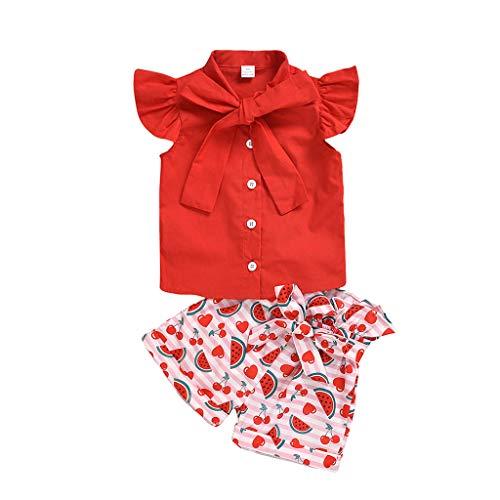 Janly Clearance Sale - Pantalones cortos para bebé de 0 a 6 años de edad, para niñas pequeñas y niñas con volantes, camiseta con estampado de sandía, para niños pequeños, rojo, 4-5 Años Old