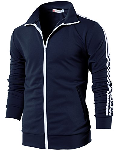 H2H Mens Slim Fit Zip-up Long Sleeves Jogging Jacket Navy US L/Asia XL (CMOJA0103)