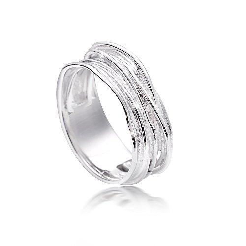 MATERIA Damen Wickel-Ringe 925 Sterling Silber rhodiniert deutsche Fertigung in Ring-Schachtel SR-92-59 (18.8 mm Ø)