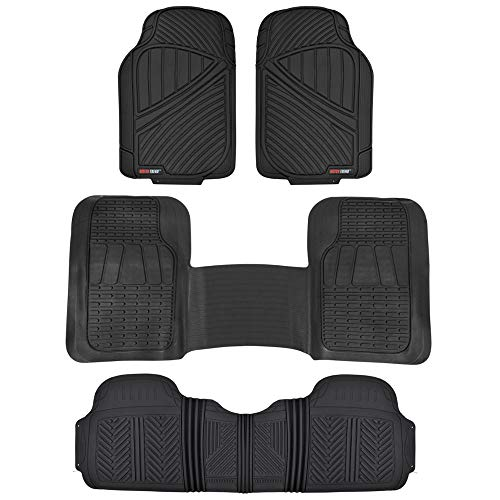 Motor Trend FlexTough 3-Row Heavy Duty Rubber Floor Mats & Liners Mega Truck/SUV/Van Combo - Heavy Duty Odorless All Weather Protection, Universal Trim to Fit, Black