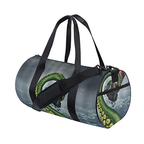ZOMOY Bolsa de Deporte,Pulpo Kraken Art Ocean Monster 's Brazo Alrededor del Faro en Cielo Nublado,Nuevo de Cubo de impresión Bolsas de Ejercicios Bolsa de Viaje Equipaje Bolsa de Lona