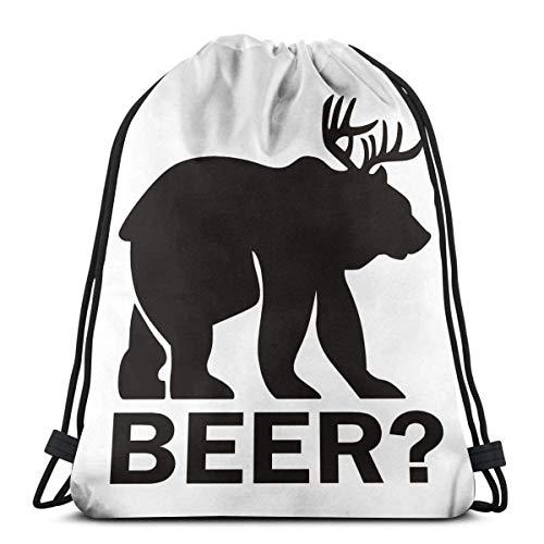 Bolsas De Cuerdas Gimnasio,Mochila con Cordón,Deer Beer Bear Mens Womens Athletic Premium Quality Pull String Bag para Viajar Yoga Shopping School Workout Beach
