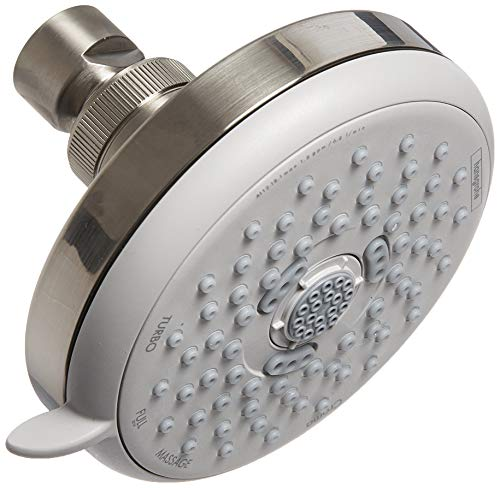 hansgrohe Croma 100 4-inch Showerhead Low Flow Modern 3-Spray Full, Pulsating Massage, Intense Turbo Water Saving with QuickClean in Brushed Nickel, 04733820