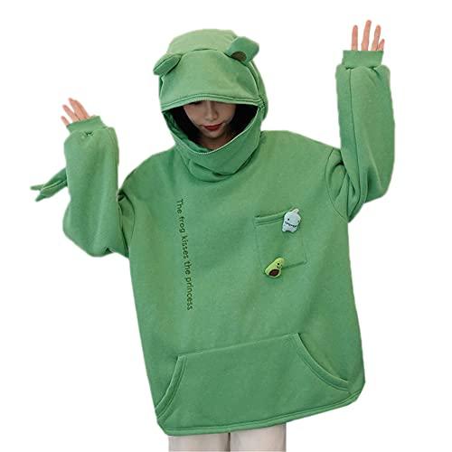 Sudadera con capucha para mujer con capucha y diseño de animal con estampado de orejas con cremallera