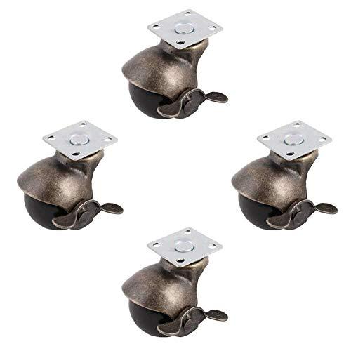 TLBBJ Ruedas Utile [paquet de 4] ruletas à billes pivotantes una Placa supérieure, Bronce Antiguo (1,5 pouces frein Avec) Fuerte