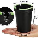 com-four® 2X Aschenbecher für draußen - Windaschenbecher - Sturmaschenbecher mit leuchtendem Deckel - Autoaschenbecher, Ø 8 cm (02 Stück - schwarz) - 5