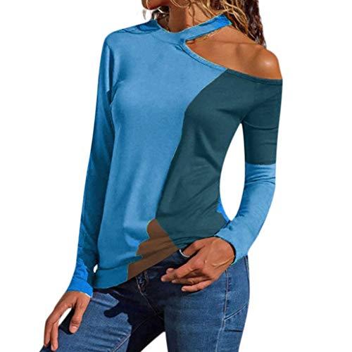 VEZAD Plus Size Women Off Shoulder Asymmetric Patchwork Color Block T-Shirts