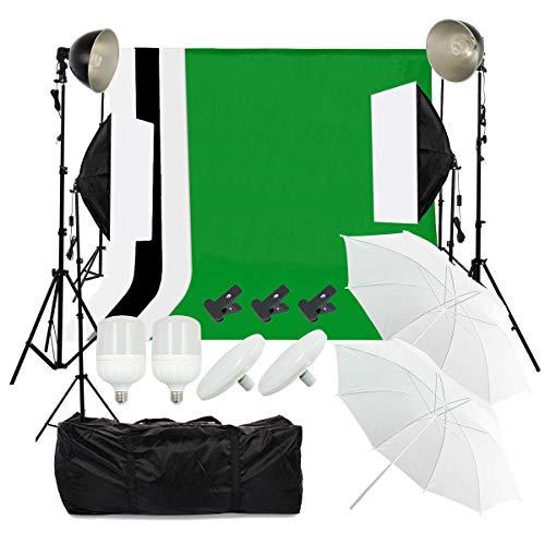 OUBO Hintergrundsystem Profi Fotostudio Greenscreen Fotoschirm Set Led Dauerlicht Softbox Studioleuchte Studiosets 4X Hintergrundstoff 2 x 3m Fotoleinwand Tragtasche