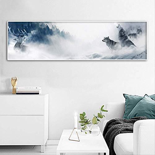 Prentkunst Schilderen Muur Kunstwerk Modulaire Canvas Poster Wolf Sneeuw Berglandschap Foto Woondecoratie Nachtkastje Achtergrond 20x70cm Geen lijst