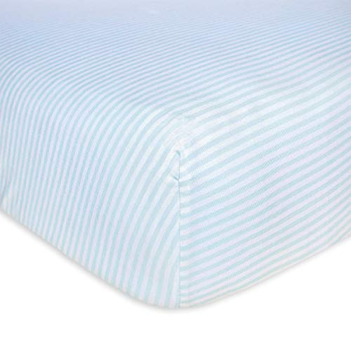 Burt's Bees Baby - Fitted Crib Sheet, Thin Stripes, 100% Organic Cotton Crib Sheet For Standard Crib and Toddler Mattresses (Sky)